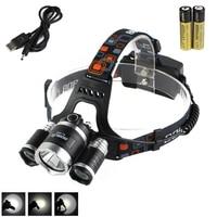 Boruit 8000LM 3X XM L L2 LED Headlight Headlamp Head Torch 2 18650 USB Charger