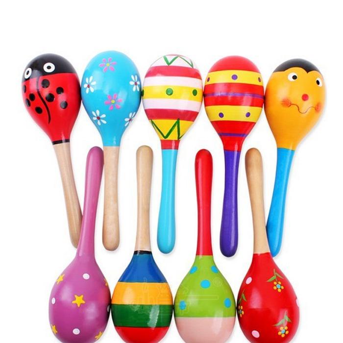 beb educativo sonajero maracas de madera los nios juguetes infantiles para nios del beb de madera