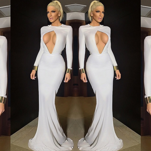 Women Sexy Front Hole Long Sleeves White Floor-Length Dresses Sexy Ball Party Dress Long Gown