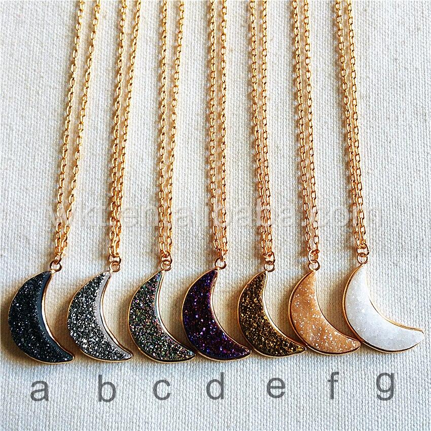 WT N814 Wholesale Natural titanium electroplated gold druzy moon necklace 24k gold color druzy titanium crescent