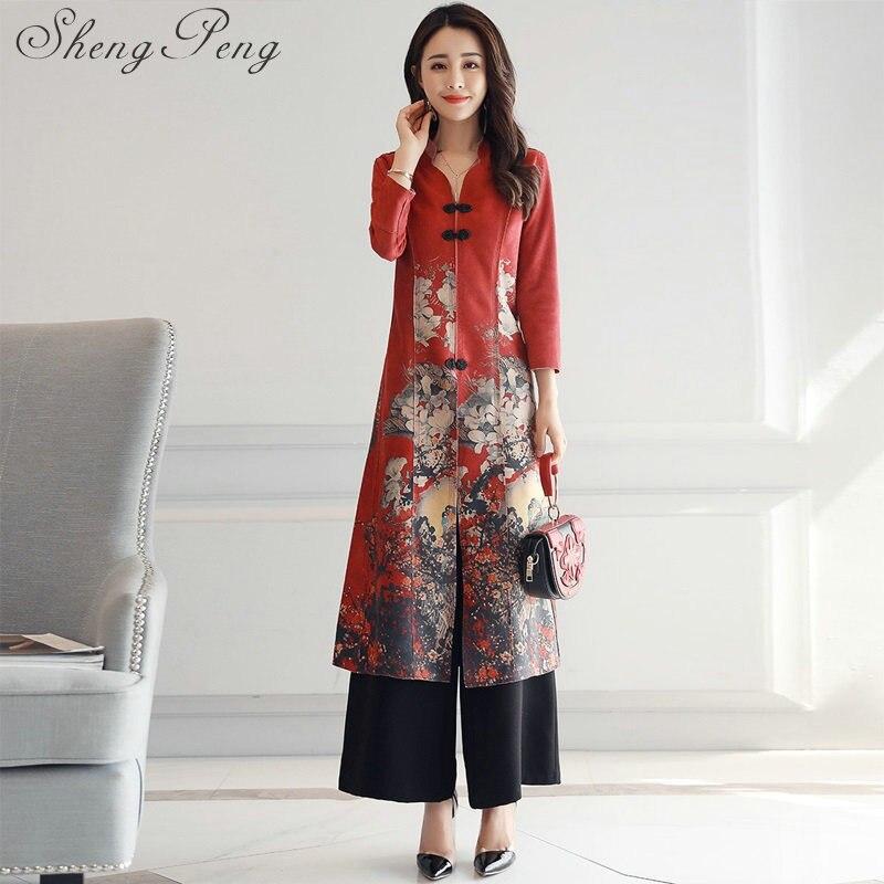 2018 new ao dai cheongsam folk style vietnam chiffon aodai graceful stand collar elegant Women Chinese Traditional Dress CC034