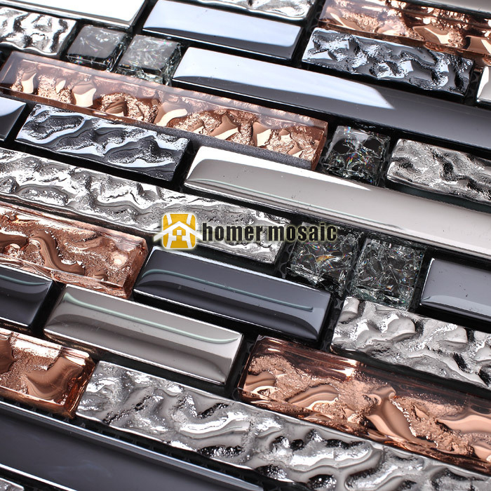 strip pink mixed gray glass and stainless steel metal mosaic for bathroom shower tiles kitchen backsplash wall tiles HMEE011 ocean blue pearl shell mosaic tile gray natural marble kitchen backsplash sea shell tiles subway glass conch wall tiles lsbk53