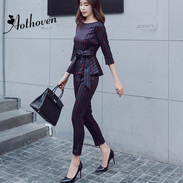 2 Piece Set Autumn Office Business Suit Women Three-quarter Sleeve O-Neck Sashes Striped Blouse Top and Nine Pants Two Piece Set