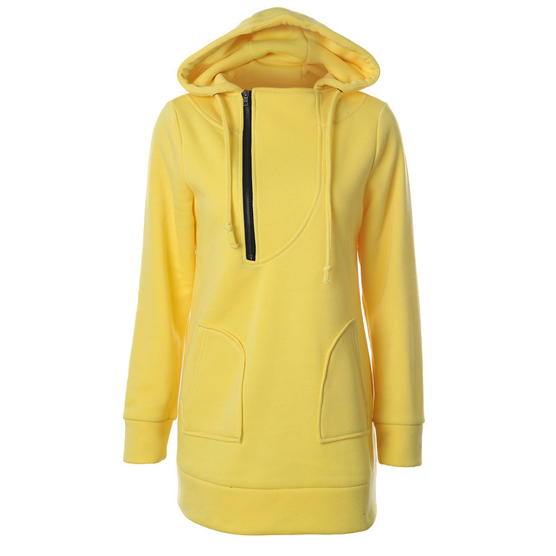 Hot Solid Hoodies Sweatshirt New Hooded Long Sleeve Pocket Design Thicken Hoody Zipper Pullover Hoodie For Women Sudaderas Mujer