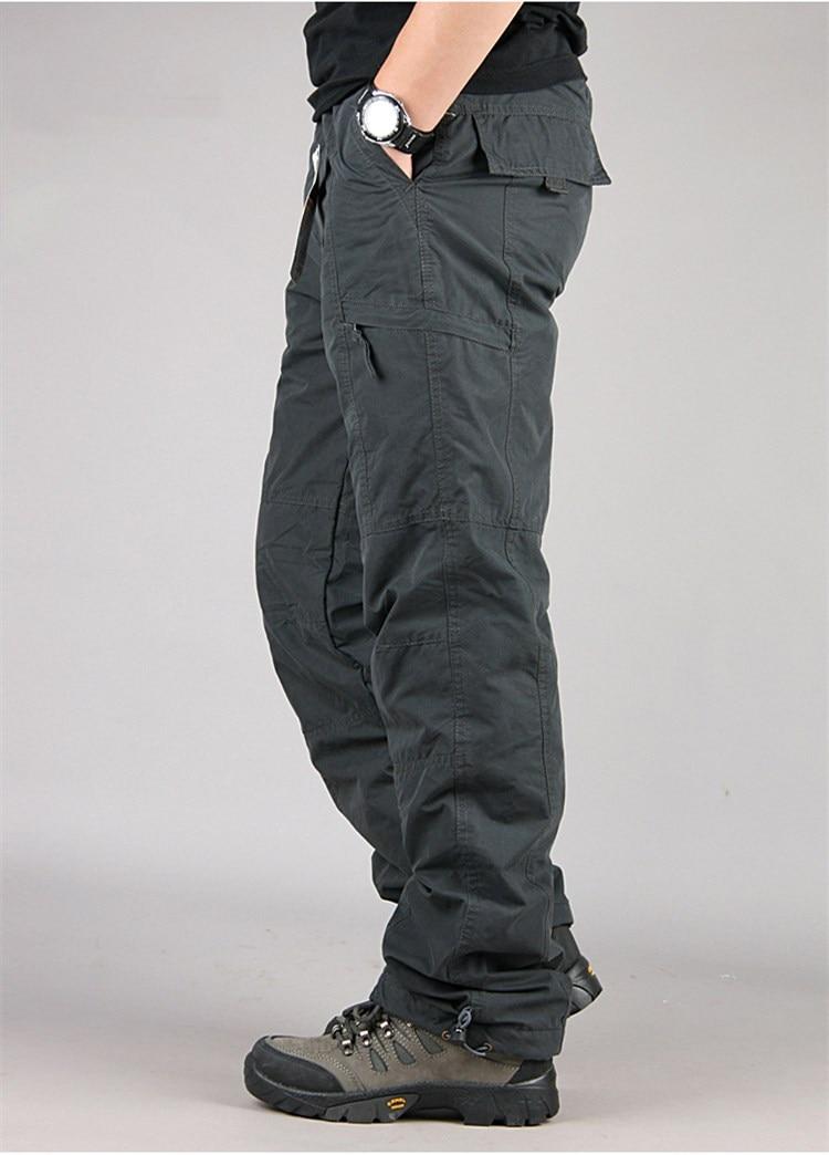 Men's Cargo Pants 2019 Winter Casual Warm Thicken Fleece Pants Men Cotton Multi Pockets Combat Military Baggy Tactical Pants 21