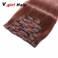 V.girl Human Hair Clip In Extensions None Remy Hair Extension Clip Tape In Human Hair Extensions Natural Hair Clip Ins 4# Color