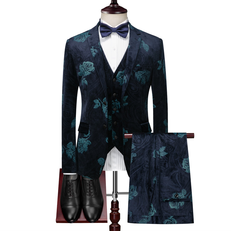(blazer+ Vest + Pants) Autumn And Winter Velvet Flower Print Navy Blue Warm Suit Suit High-end Banquet Luxury Men's Suits 3pcs