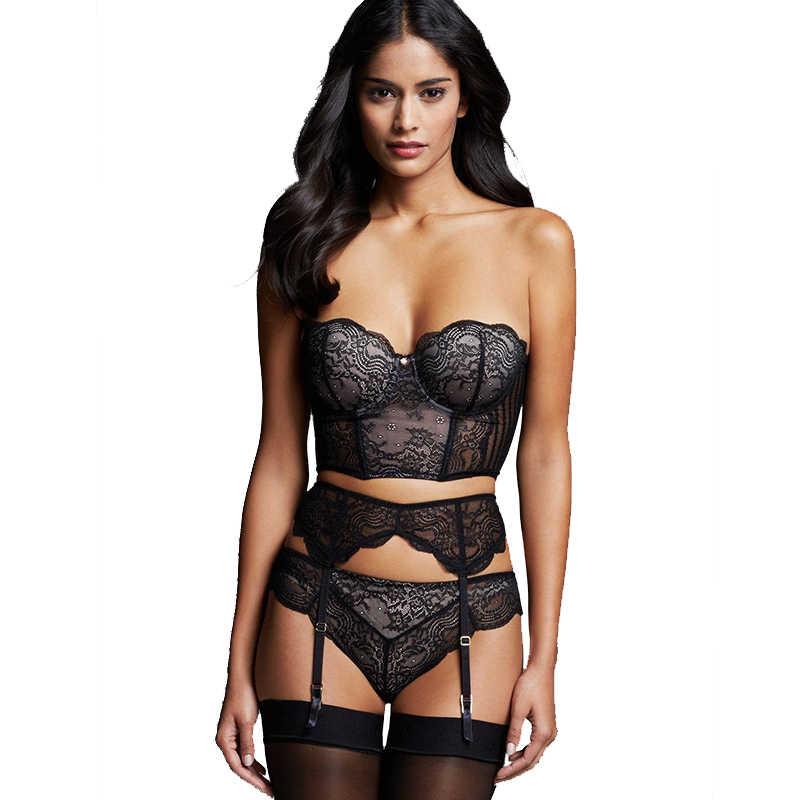 3fb09a04696 Bra +Garterbelt+Panty 3 Pieces Lace Underwear Set Women Erotic Lingerie Set  Bralette Black