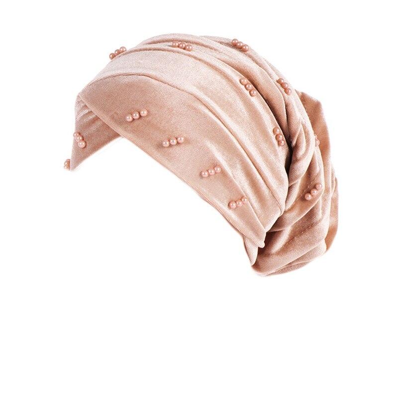 New Fashion Women Autumn Winter Muslim Beading Pearl Ruffle Hat Beanie Scarf Turban Head Wrap Cap  #4F09 (11)