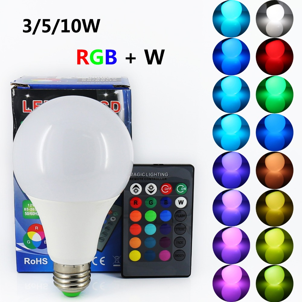 ANJOET E27 LED Bulb RGB Lamp Light 110V 220V RGB+W 3W 5W 10W 85-265V With IR Remote Controller Enegry Saving Lampara A65 A70 A80 e27 3w multicolored light bulb with remote controller 1 x cr2025 85 265v