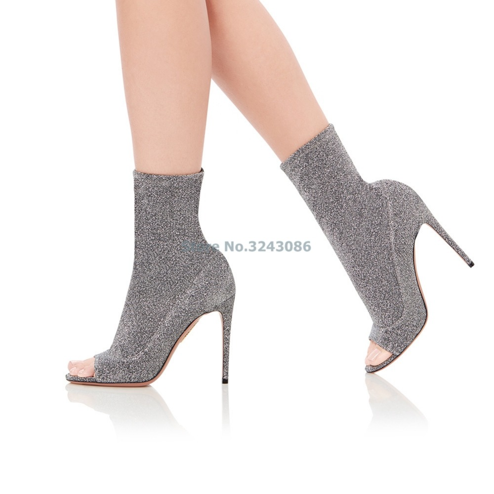 New Arrival Peep Toe Faux Suede Thin High Heel Ankle Boots Brown Nubuck Pleated Boots Silver Stretch Fabric Open Toe Boots - 6