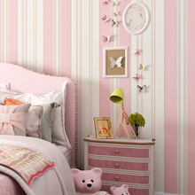 Romantic Pink Children's Room Wallpaper Bedroom Environmental Non-woven Stripe Wall Paper Roll все цены