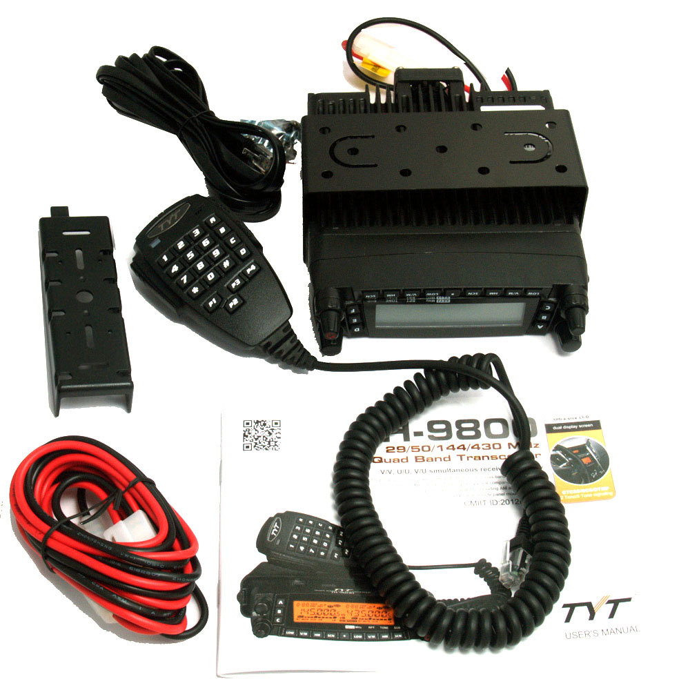 TYT TH9800 TH-9800 Mobile Transceiver Automotive Radio Station 50W Repeater Scrambler Quad Band V/UHF Car Truck Radio with cable