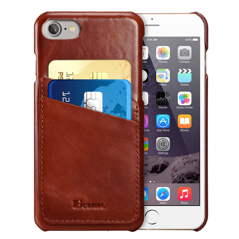 Benuo for iPhone 6 6s Case Genuine Leather Slim Corrected Grain Leather Cover With 2 Card