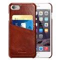 Benuo para iphone 6 6 s case del cuero genuino delgada cubierta de cuero de grano corregido con 2 ranuras para tarjetas, leather case para iphone 6 6 s
