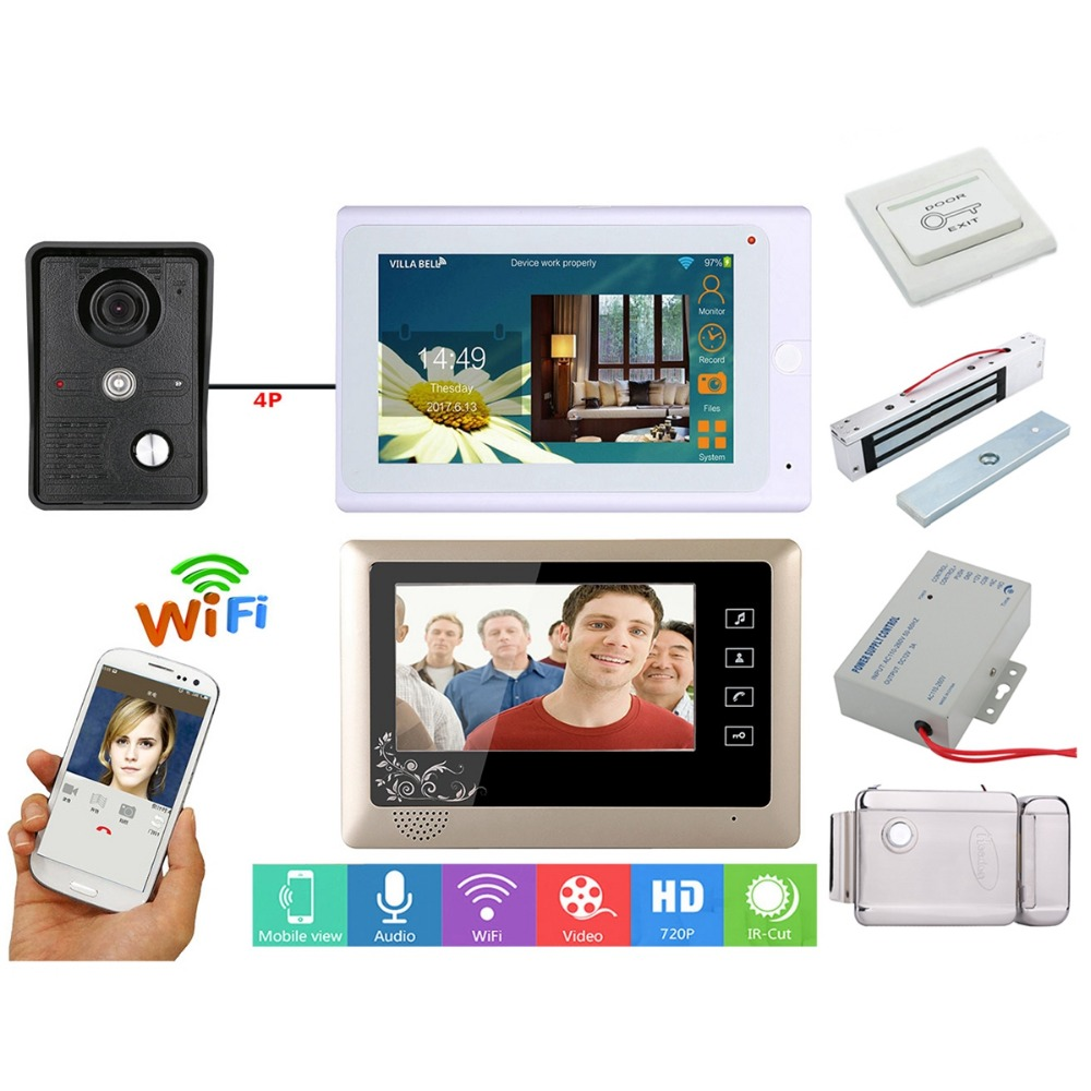 Home Set 7 Inch 2 Monitors Wired /Wireless Wifi Video Doorbell Intercom System With IR-CUT HD 1000TVL Wired Camera+Electric Lock