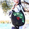 Vintage Embroidery Women Handbag Boho Handmade Origianl National Cloth Grape Green Leaves Shoulder Messenger Bag