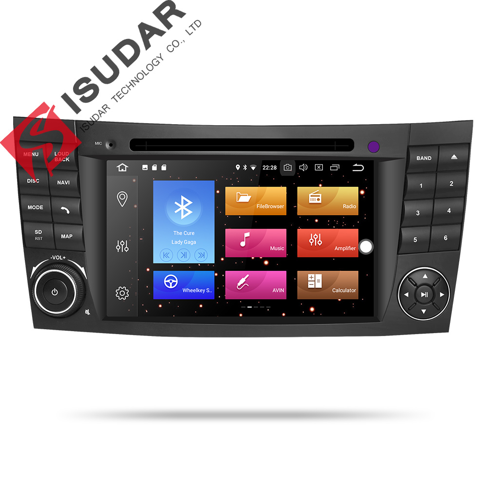 Isudar Auto Multimedia Player 2 Din Android 9 For Mercedes/Benz/E-Class/W211/CL 8 Core 4GB RAM Car GPS DVD Radio USB DVR FM DSP