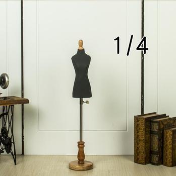цена на Black sewing jewellery Woman Half body mannequin profissional,mini 1:4 scale Teaching tailor wood manikin Disk base canPinM00022