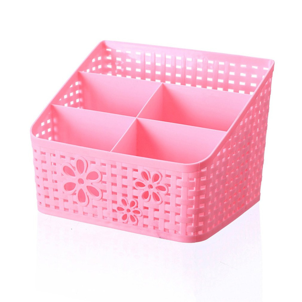 5 Grid Desktop Organizer Storage Box Cosmetic Makeup Organizer Baskets Remote Control Holder 4 Colors