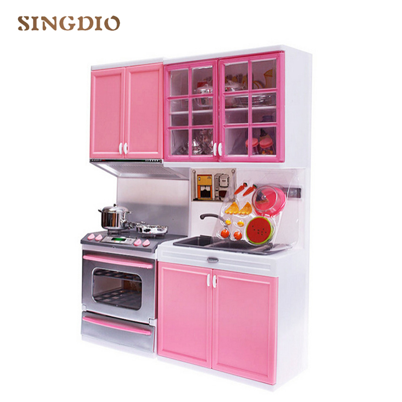 Girl Red Pink House Kitchen Room Combination High Grade Toy Children Simulation Kitchen Tableware Suit