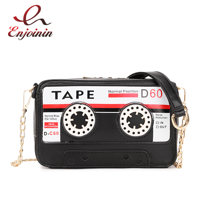 Cartoon Tape Shape Messengers Women's Pu Leather Bags Handbags For Girls Mini Flap Female Clutches Bags Chain Party Bag Pouch