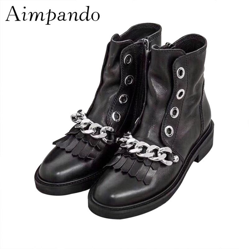 Серебряные цепочки Женские ботильоны квадратный каблук круглый носок с бахромой кожаные ботинки martin Черные полусапожки