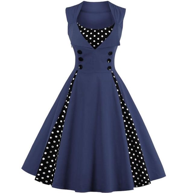 Retro Sleeveless Polka Dot A-Line Dress
