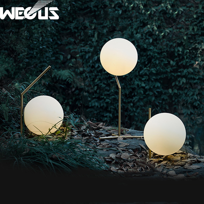 Modern creative nordic fashion LED table reading lamp bedroom study ball glass plated frosted light