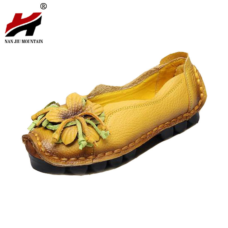 Large size 35-41 2017 New Flowers Handmade Genuine Leather Shoes Women Retro Soft Bottom Flat Shoes Summer Canvas Ballet Flats new national wind flowers handmade genuine leather shoes women retro soft bottom flat shoes summer canvas ballet flats k62