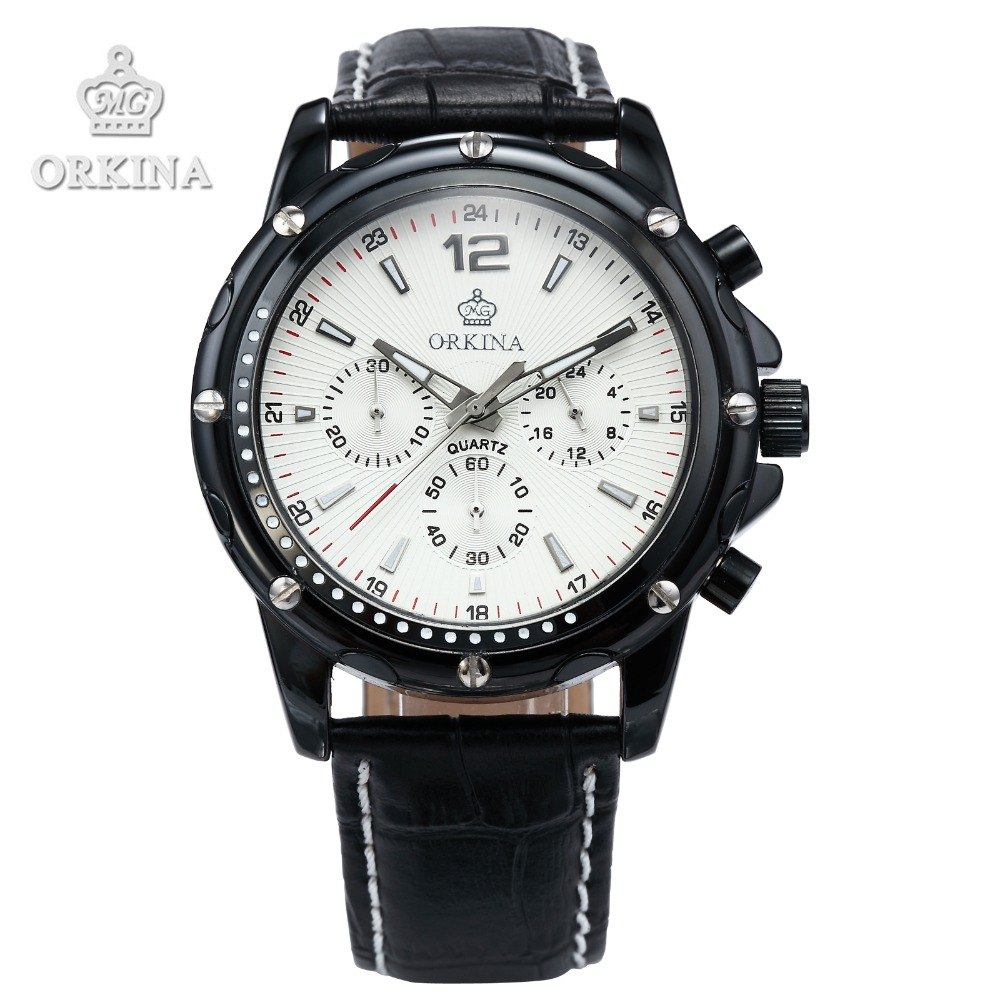 2 Colors Orkina Brands Mens 2016 Sports Stop Analog Quartz Leather Band Stainless Steel Case Male Fashion Military wrist watches fabulous 2016 quicksand pattern leather band analog quartz vogue wrist watches 11 23
