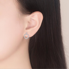 Silver Round Shaped Crystal Stud Earrings