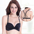 Sexy Deep V Breathable Bra One-piece Seamless Bra Small Chest Type  Bra Gather Smooth Adjustment Push Up Classic Cross Bra