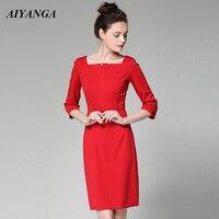 AIYANGA Elegant OL Dress For Women 2018 Summer Autumn Slim Pencil Dress Solid Red Black Office Lady Medium Long Party Dresses