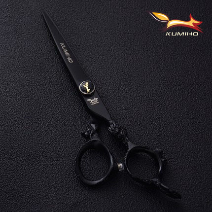 Купить с кэшбэком KUMIHO 6inch black hair scissors with dragon handle hair shear and thinning scissors Japan 440C titanium coated free shipping
