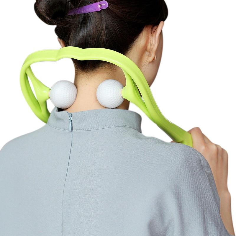 Neck Massager für Hals und Schulter Dual Trigger Punkt Selbst-Massage Werkzeug Simuliert Massage Tiefe Gewebe Massage Therapeuten Hände