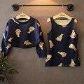 2016 Новых девушек костюм мода осень стиль одежды наборы для девушки хлопок 2 ШТ. Персонализированные свитер + жилет юбка подходит 2-7 Т ребенок