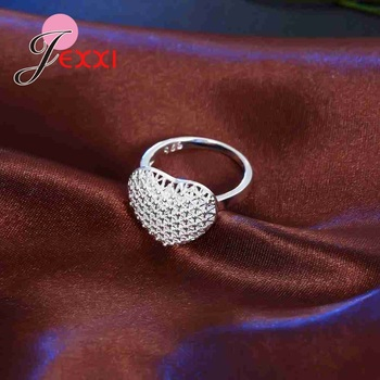 Openwork High Quality 925 Sterling Silver Hollow Design Exaggerated Style Love Heart Shape Finger Ring Bride Jewelry Accessories 3