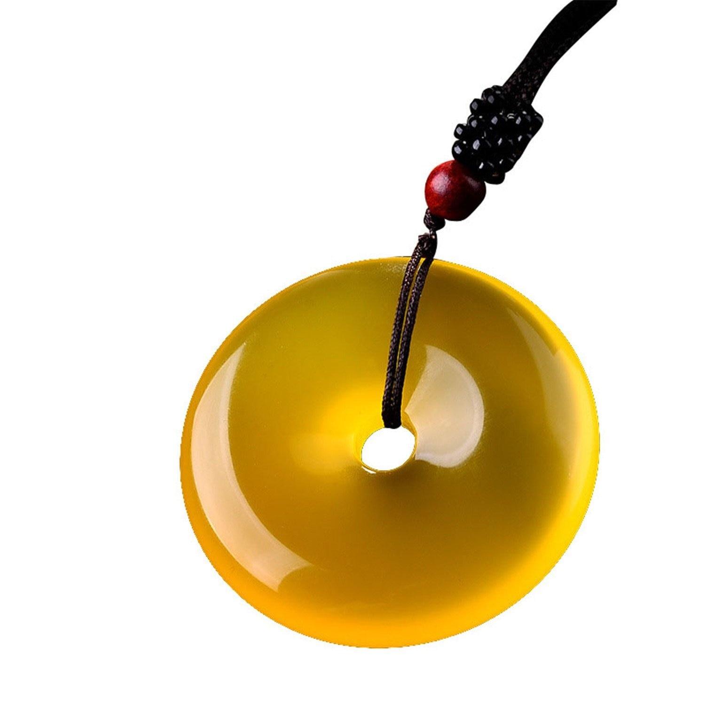 Природный лед семян Желтый агат Кристалл безопасной пряжкой круглый кулон Цепочки и ожерелья Jewelry драгоценный подарок