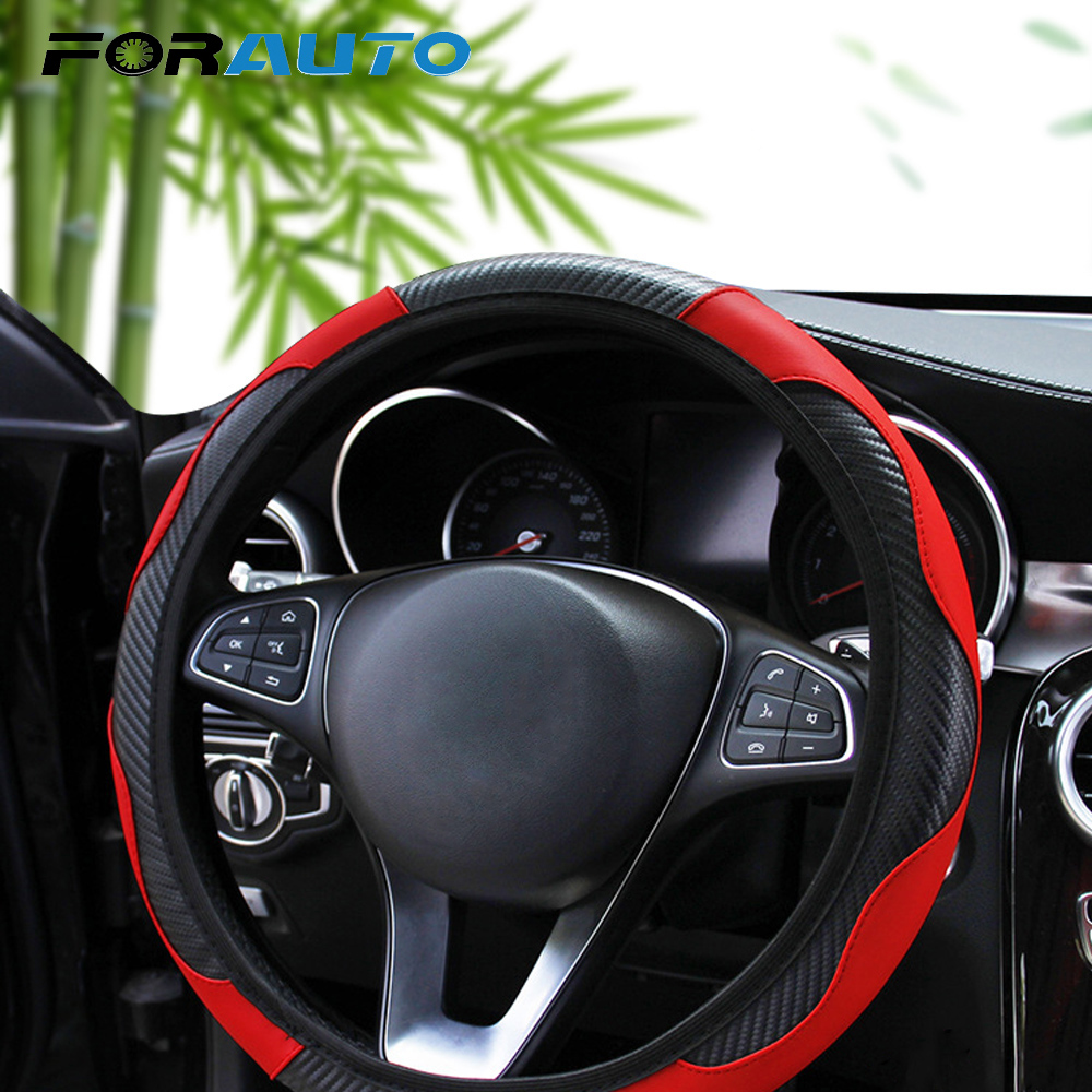 FORAUTO Steering-Wheel-Cover Carbon-Fiber Car-Styling Anti-Slip 37-38cm Suitable-For