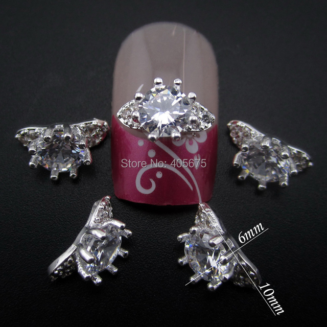 10pcs Silver glitter zircon rings for nail art decoration 3d nail ...