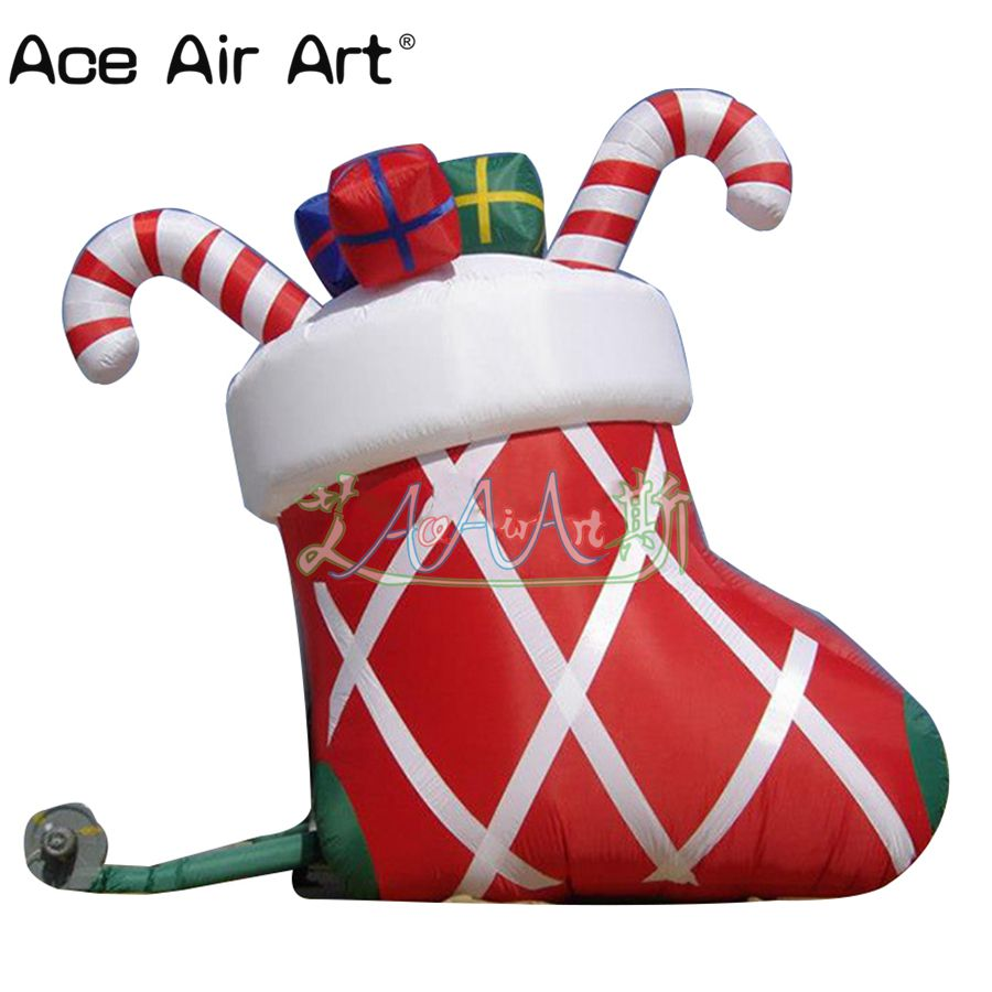 Us 460 0 Giant Christmas Inflatable Ornament Inflatable Christmas Stocking With Candy Cane Gift For Sale In Toy Tents From Toys Hobbies On