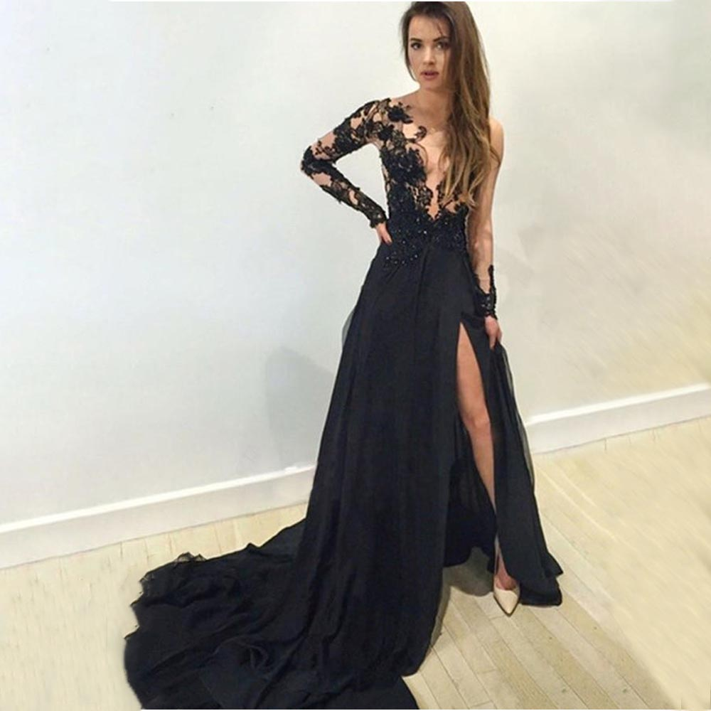Scoop Long   Prom     Dresses   Applique Full Sleeves Front Split Black Chiffon Sweep Train Evening Formal Party   Dress   Vestido De Fiesta