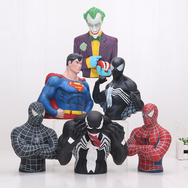 17cm Avengers superhero Spider Man Venom superman PVC Action Figure Toys Piggy Bank Save Money Box