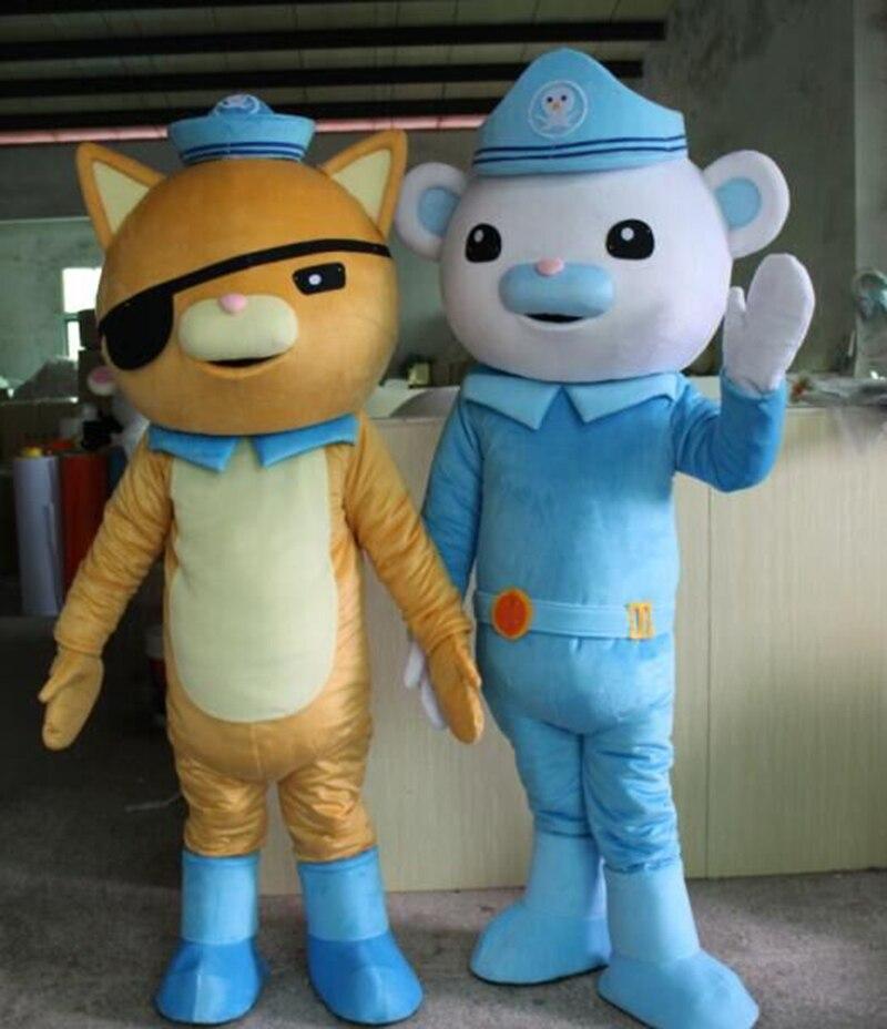 Offre spéciale animée Octonauts film Captain Barnacles & kwazii ours polaire Police mascotte Costumes taille adulte livraison gratuite