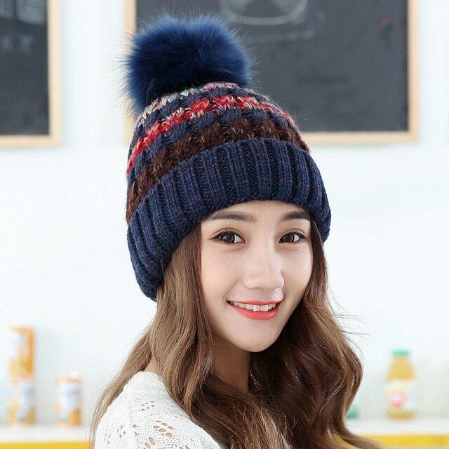 5 estilos dual Pieles de animales rayas punto grueso gorro de lana sombreros  de invierno mujeres 42d4709b3d0