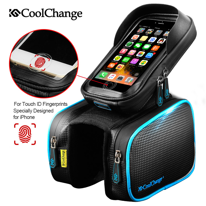 CoolChange Bicycle Frame Front Head Top Tube Waterproof Bike Bag&Double IPouch Cycling For 6.0 in Cell Phone Bike Accessories boodun bd b04 bicycle bike top tube double bag black