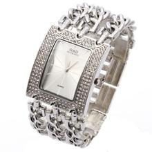 G & D Mujeres Reloj Relogio Feminino Reloj de Cuarzo Vestido de Las Mujeres Rhinestone de Lujo Superior de la Marca Original Reloj de Mujer Reloj de Plata