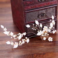 Gold Flower Leaf Crystal Hair Comb Pearls Wedding Hair Vine Headband Bridal Headpiece Hair Accessories Bride