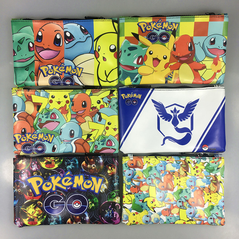 Cartoon Pokemon Go Pencil Purse Pocket Monster Wallet Kawaii Pikachu Jeni Turtle Print Leather Zipper Coin Pen Bags Pouch Wallet anime pocket monster flareon cosplay cap orange cartoon pikachu ladies dress pokemon go hat charm costume props baseball cap
